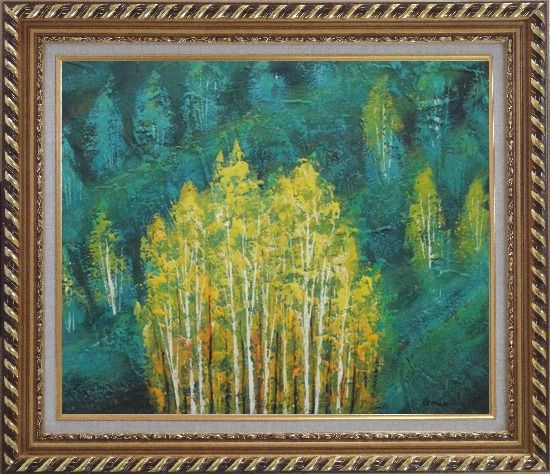 Framed Village in Green Forest and Mountain Oil Painting Landscape Tree Impressionism Exquisite Gold Wood Frame 26 x 30 Inches