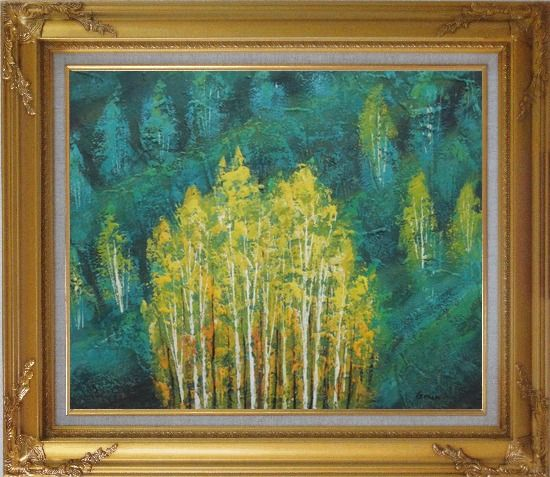 Framed Village in Green Forest and Mountain Oil Painting Landscape Tree Impressionism Gold Wood Frame with Deco Corners 27 x 31 Inches
