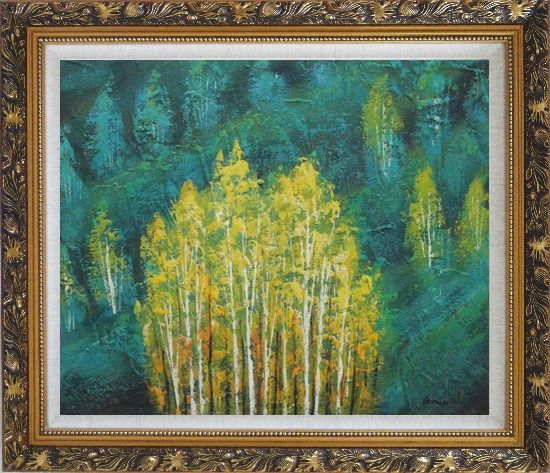 Framed Village in Green Forest and Mountain Oil Painting Landscape Tree Impressionism Ornate Antique Dark Gold Wood Frame 26 x 30 Inches