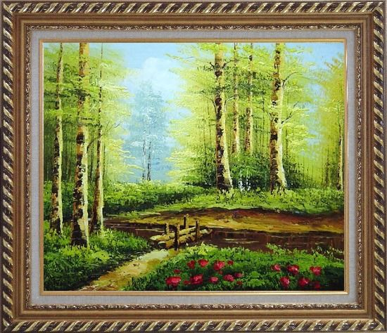 Framed Yellow Aspen Forest and Snow Mountain Impression Oil Painting Landscape Tree Naturalism Exquisite Gold Wood Frame 26 x 30 Inches