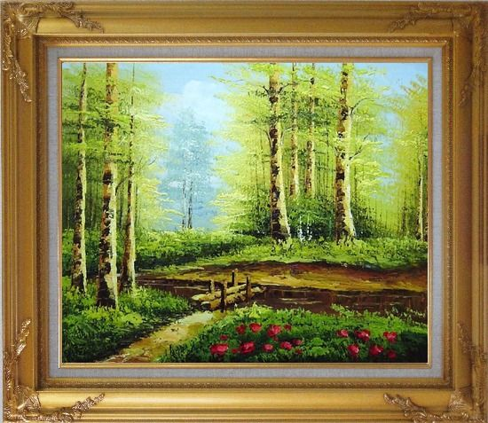 Framed Yellow Aspen Forest and Snow Mountain Impression Oil Painting Landscape Tree Naturalism Gold Wood Frame with Deco Corners 27 x 31 Inches