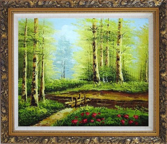 Framed Yellow Aspen Forest and Snow Mountain Impression Oil Painting Landscape Tree Naturalism Ornate Antique Dark Gold Wood Frame 26 x 30 Inches