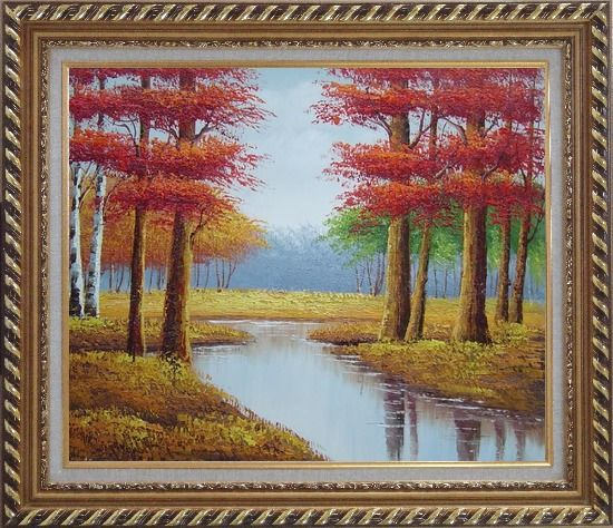 Framed Autumn Colorful Scenery Landscape Oil Painting Tree Naturalism Exquisite Gold Wood Frame 26 x 30 Inches