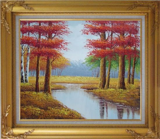 Framed Autumn Colorful Scenery Landscape Oil Painting Tree Naturalism Gold Wood Frame with Deco Corners 27 x 31 Inches