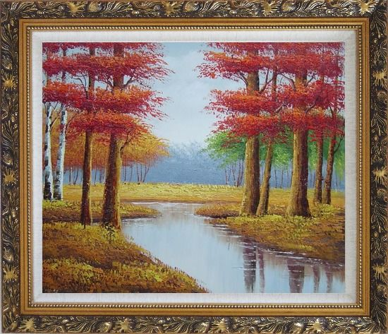 Framed Autumn Colorful Scenery Landscape Oil Painting Tree Naturalism Ornate Antique Dark Gold Wood Frame 26 x 30 Inches