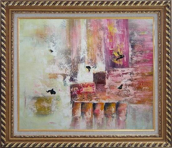Framed Harbourside Abstract Oil painting Nonobjective Modern Exquisite Gold Wood Frame 26 x 30 Inches