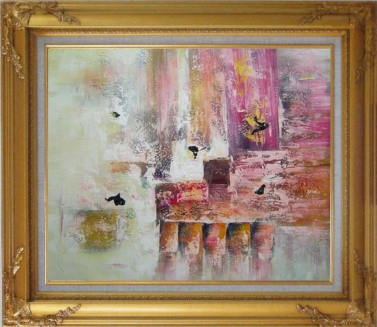 Framed Harbourside Abstract Oil painting Nonobjective Modern Gold Wood Frame with Deco Corners 27 x 31 Inches