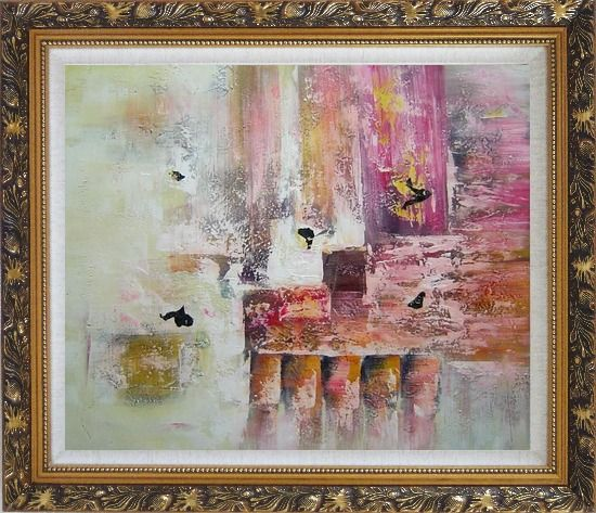 Framed Harbourside Abstract Oil painting Nonobjective Modern Ornate Antique Dark Gold Wood Frame 26 x 30 Inches