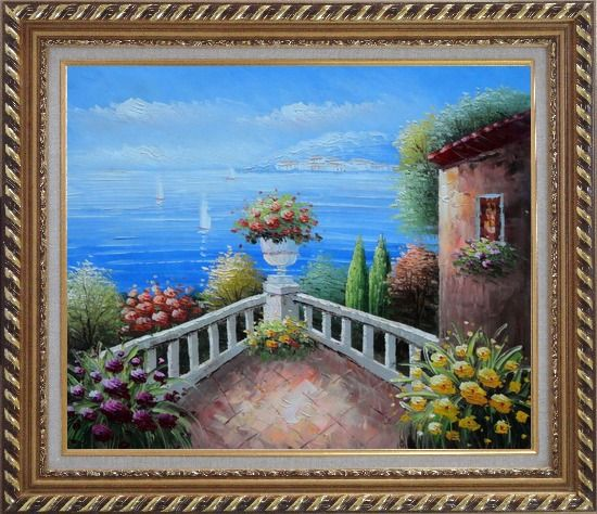 Framed Mediterranean Flower Corner Oil Painting Naturalism Exquisite Gold Wood Frame 26 x 30 Inches