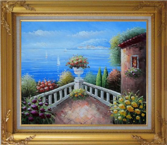 Framed Mediterranean Flower Corner Oil Painting Naturalism Gold Wood Frame with Deco Corners 27 x 31 Inches