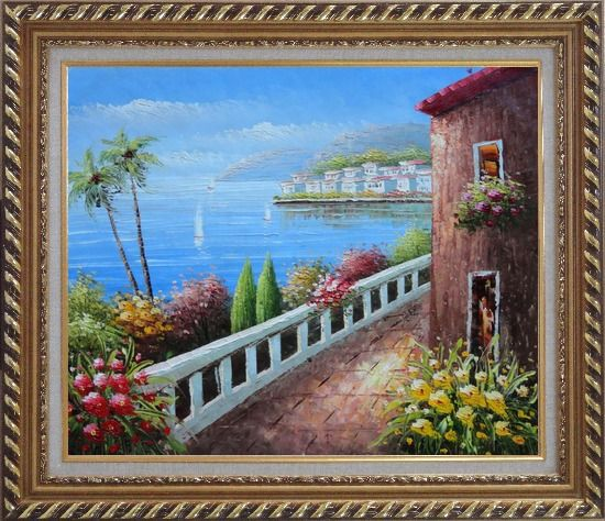 Framed Mediterranean Seaside Walkway of A Village Oil Painting Naturalism Exquisite Gold Wood Frame 26 x 30 Inches