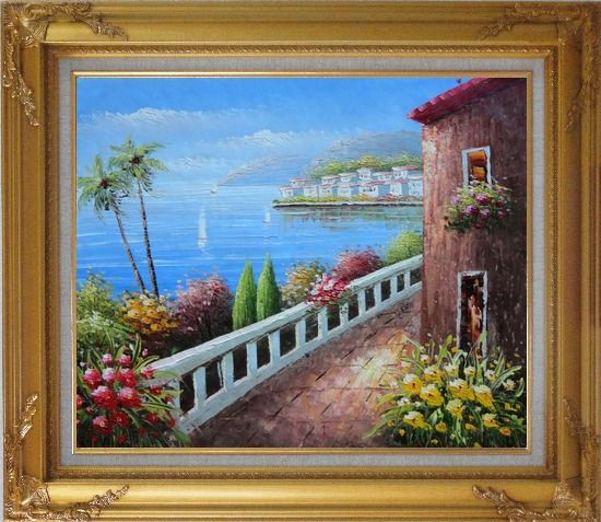 Framed Mediterranean Seaside Walkway of A Village Oil Painting Naturalism Gold Wood Frame with Deco Corners 27 x 31 Inches
