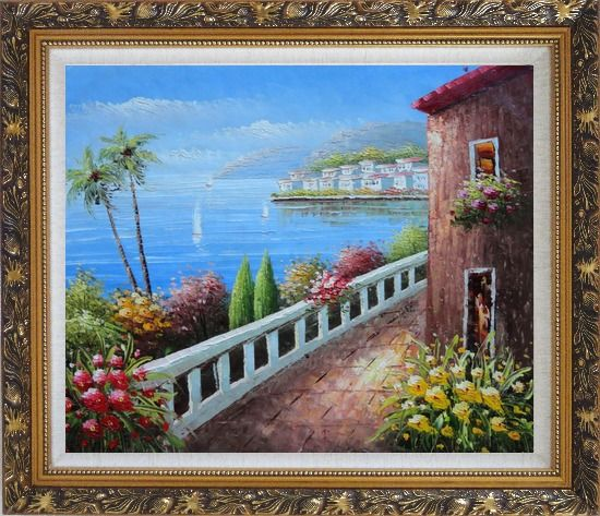 Framed Mediterranean Seaside Walkway of A Village Oil Painting Naturalism Ornate Antique Dark Gold Wood Frame 26 x 30 Inches