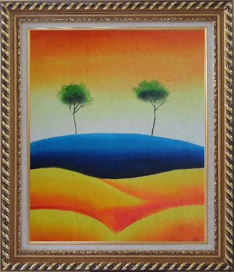 Framed Two Contemporary Abstract Green Aspen Trees Oil Painting Landscape Modern Exquisite Gold Wood Frame 30 x 26 Inches