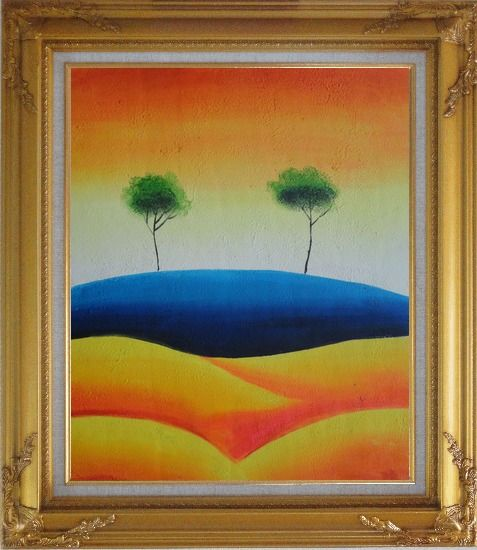 Framed Two Contemporary Abstract Green Aspen Trees Oil Painting Landscape Modern Gold Wood Frame with Deco Corners 31 x 27 Inches