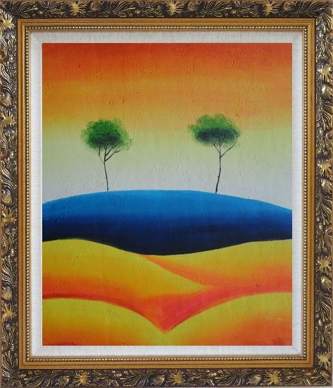 Framed Two Contemporary Abstract Green Aspen Trees Oil Painting Landscape Modern Ornate Antique Dark Gold Wood Frame 30 x 26 Inches