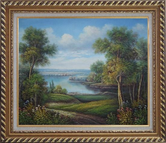Framed Amazing Trail Near a Peaceful Lake in A Splendid Landscape Oil Painting River Classic Exquisite Gold Wood Frame 26 x 30 Inches