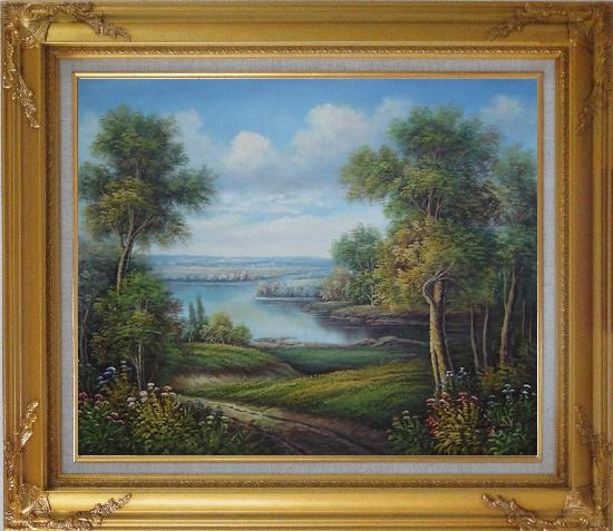 Framed Amazing Trail Near a Peaceful Lake in A Splendid Landscape Oil Painting River Classic Gold Wood Frame with Deco Corners 27 x 31 Inches