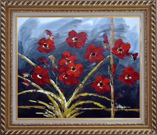Framed Modern Red Flowers in Blue Field Oil painting Decorative Exquisite Gold Wood Frame 26 x 30 Inches