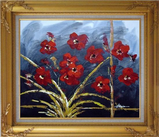 Framed Modern Red Flowers in Blue Field Oil painting Decorative Gold Wood Frame with Deco Corners 27 x 31 Inches