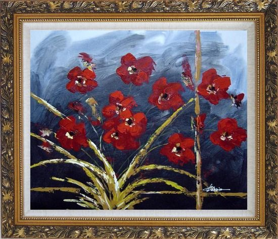 Framed Modern Red Flowers in Blue Field Oil painting Decorative Ornate Antique Dark Gold Wood Frame 26 x 30 Inches