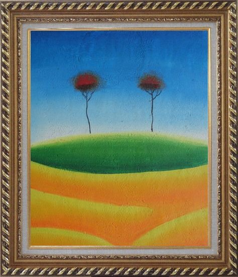 Framed Two Contemporary Abstract Red Trees Oil Painting Landscape Modern Exquisite Gold Wood Frame 30 x 26 Inches