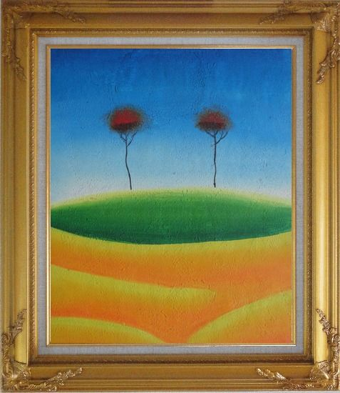 Framed Two Contemporary Abstract Red Trees Oil Painting Landscape Modern Gold Wood Frame with Deco Corners 31 x 27 Inches