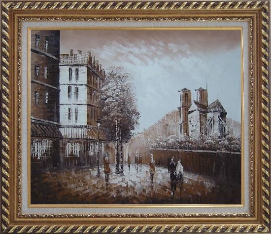 Framed Pedestrian Walk on Street Scene at Dusk Near Notre Dame Oil Painting Cityscape France Impressionism Exquisite Gold Wood Frame 26 x 30 Inches