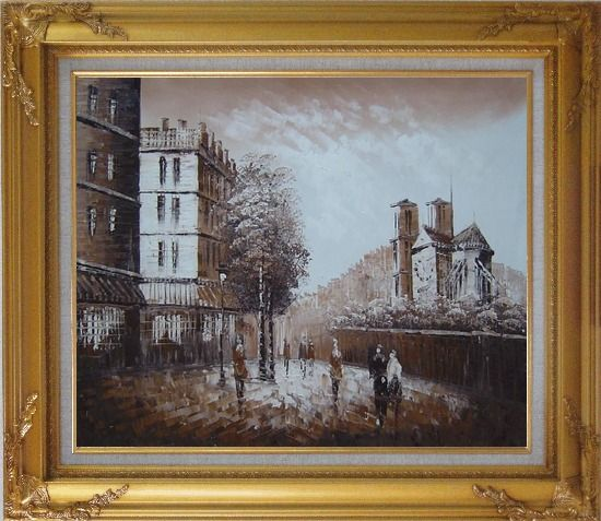 Framed Pedestrian Walk on Street Scene at Dusk Near Notre Dame Oil Painting Cityscape France Impressionism Gold Wood Frame with Deco Corners 27 x 31 Inches