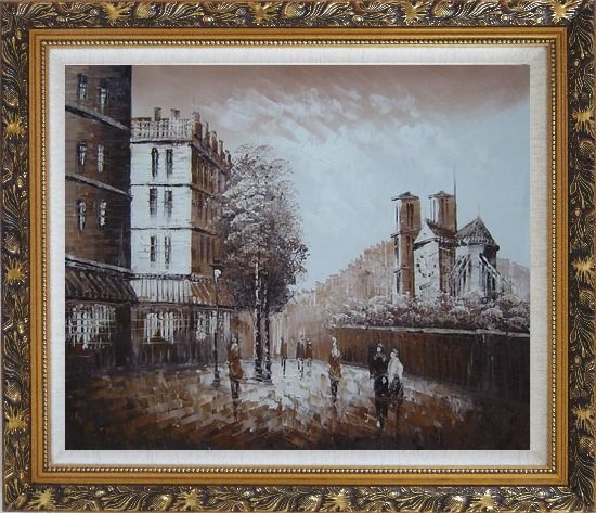 Framed Pedestrian Walk on Street Scene at Dusk Near Notre Dame Oil Painting Cityscape France Impressionism Ornate Antique Dark Gold Wood Frame 26 x 30 Inches