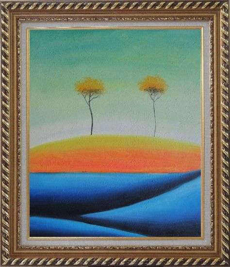 Framed Two Abstract Yellow Aspen Trees in Summer Oil Painting Landscape Modern Exquisite Gold Wood Frame 30 x 26 Inches