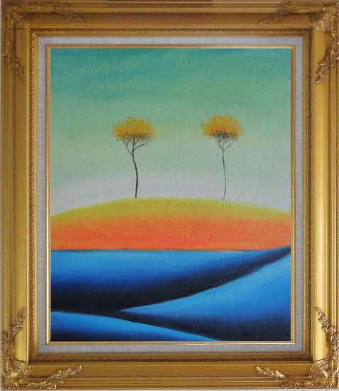 Framed Two Abstract Yellow Aspen Trees in Summer Oil Painting Landscape Modern Gold Wood Frame with Deco Corners 31 x 27 Inches