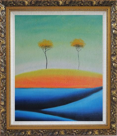 Framed Two Abstract Yellow Aspen Trees in Summer Oil Painting Landscape Modern Ornate Antique Dark Gold Wood Frame 30 x 26 Inches