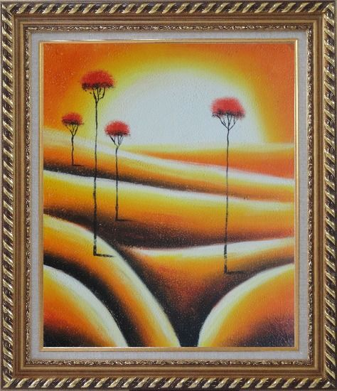 Framed Four Abstract Red Trees in Yellow Light Oil Painting Landscape Modern Exquisite Gold Wood Frame 30 x 26 Inches