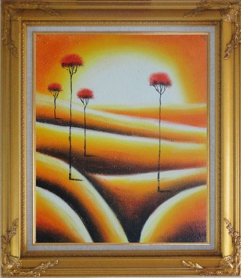 Framed Four Abstract Red Trees in Yellow Light Oil Painting Landscape Modern Gold Wood Frame with Deco Corners 31 x 27 Inches