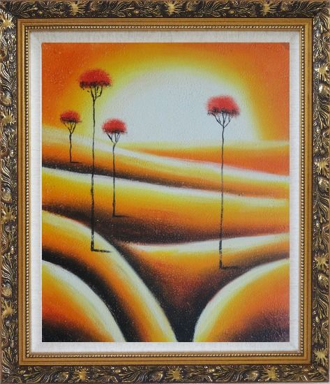 Framed Four Abstract Red Trees in Yellow Light Oil Painting Landscape Modern Ornate Antique Dark Gold Wood Frame 30 x 26 Inches