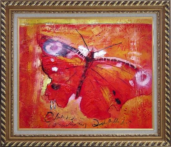 Framed Red Butterfly In Red Background Oil Painting Animal Modern Exquisite Gold Wood Frame 26 x 30 Inches