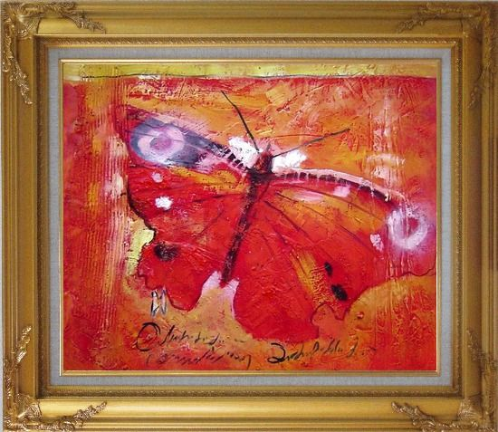 Framed Red Butterfly In Red Background Oil Painting Animal Modern Gold Wood Frame with Deco Corners 27 x 31 Inches