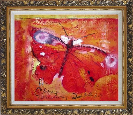 Framed Red Butterfly In Red Background Oil Painting Animal Modern Ornate Antique Dark Gold Wood Frame 26 x 30 Inches