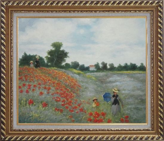 Framed Field of Poppies, Monet Replica Oil Painting Landscape Portraits Impressionism Exquisite Gold Wood Frame 26 x 30 Inches
