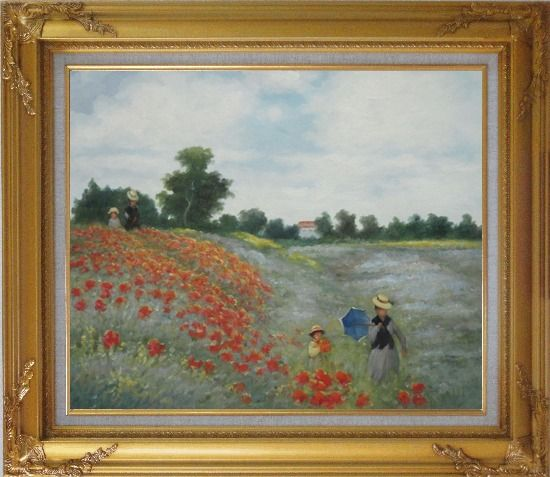 Framed Field of Poppies, Monet Replica Oil Painting Landscape Portraits Impressionism Gold Wood Frame with Deco Corners 27 x 31 Inches