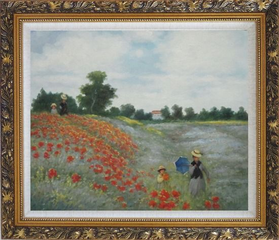 Framed Field of Poppies, Monet Replica Oil Painting Landscape Portraits Impressionism Ornate Antique Dark Gold Wood Frame 26 x 30 Inches