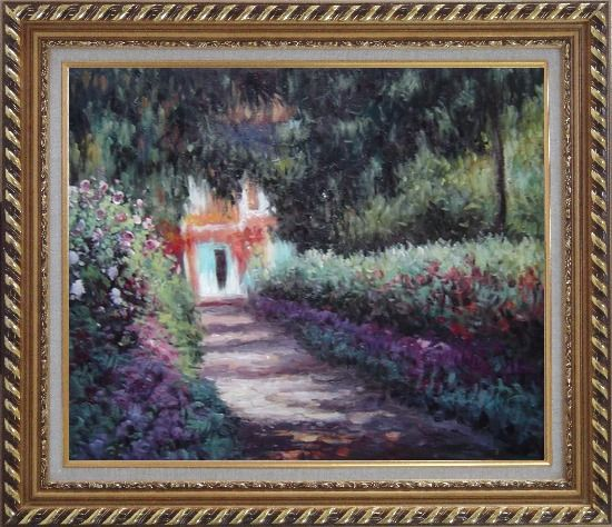 Framed The Garden in Flower, Monet Reproduction Oil Painting France Impressionism Exquisite Gold Wood Frame 26 x 30 Inches