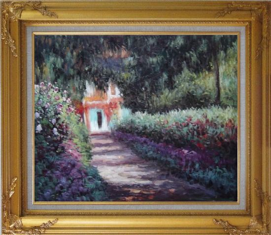 Framed The Garden in Flower, Monet Reproduction Oil Painting France Impressionism Gold Wood Frame with Deco Corners 27 x 31 Inches