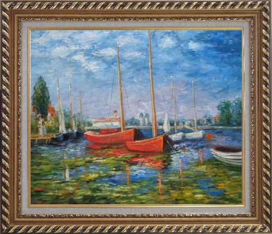 Framed Red Boats at Argenteuil, Monet Replica Oil Painting Impressionism Exquisite Gold Wood Frame 26 x 30 Inches