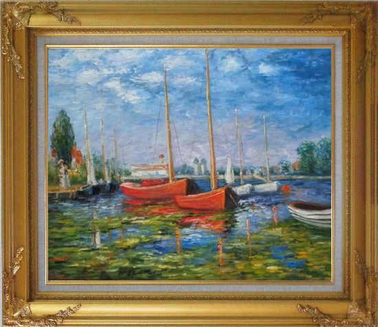 Framed Red Boats at Argenteuil, Monet Replica Oil Painting Impressionism Gold Wood Frame with Deco Corners 27 x 31 Inches