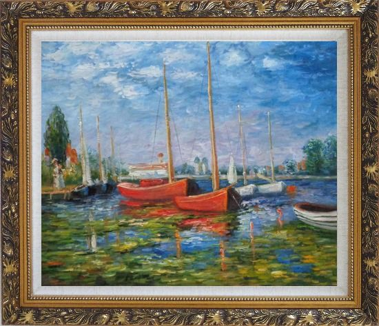 Framed Red Boats at Argenteuil, Monet Replica Oil Painting Impressionism Ornate Antique Dark Gold Wood Frame 26 x 30 Inches