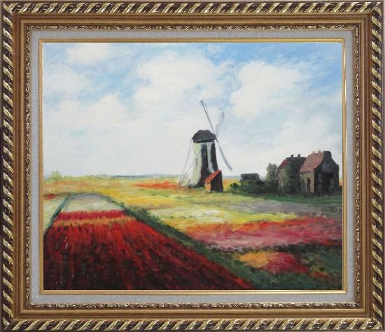Framed Tulip Field with Rijnburg Windmill, Monet Replica Oil Painting Landscape Impressionism Exquisite Gold Wood Frame 26 x 30 Inches