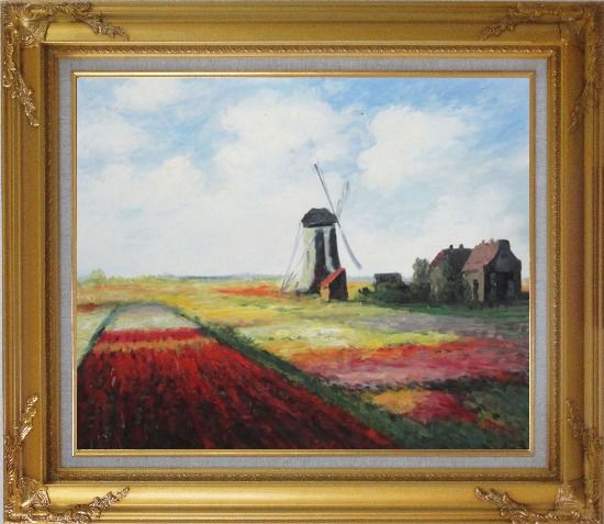 Framed Tulip Field with Rijnburg Windmill, Monet Replica Oil Painting Landscape Impressionism Gold Wood Frame with Deco Corners 27 x 31 Inches