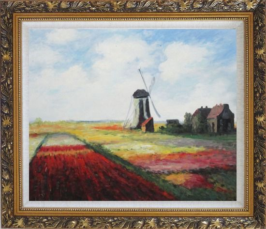 Framed Tulip Field with Rijnburg Windmill, Monet Replica Oil Painting Landscape Impressionism Ornate Antique Dark Gold Wood Frame 26 x 30 Inches